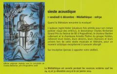 Sieste acoustique à Francheville avec Bastien Lallemant, Stéphane Mulet, Ingrid Astier, Armelle Pioline et Charles Berbérian