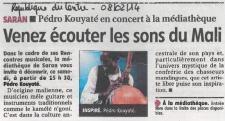 Pédro et Sophie Comtet Kouyaté accompagnés de Renaud Ollivier à Saran